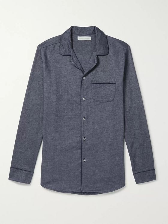 Desmond & Dempsey Brushed Cotton-Twill Pyjama Shirt