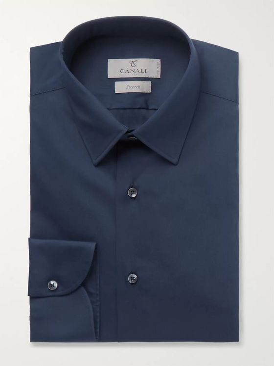 Canali Navy Slim-Fit Stretch Cotton-Blend Shirt