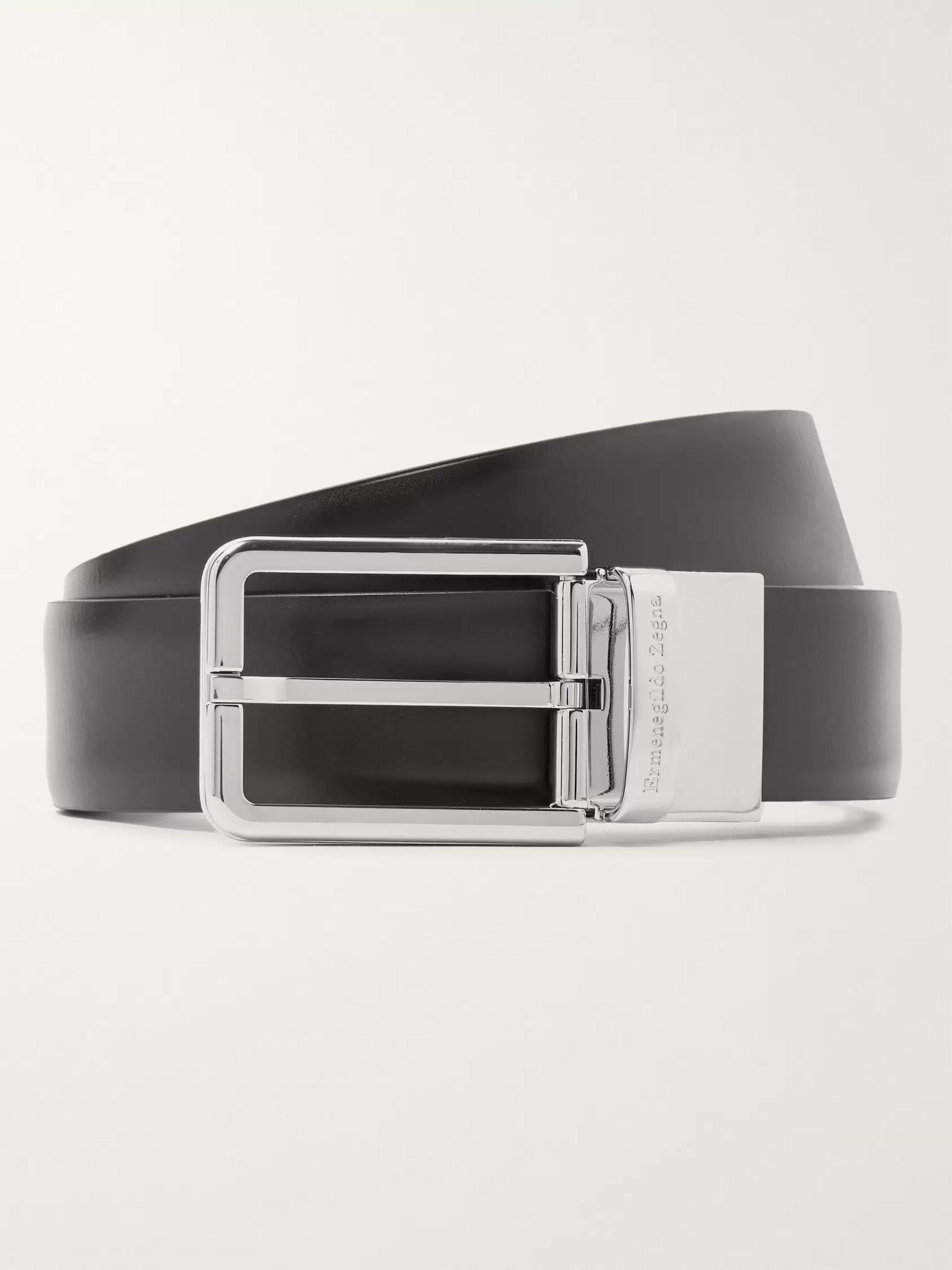 6d4cb75b0e 3cm Black and Dark-Brown Reversible Leather Belt