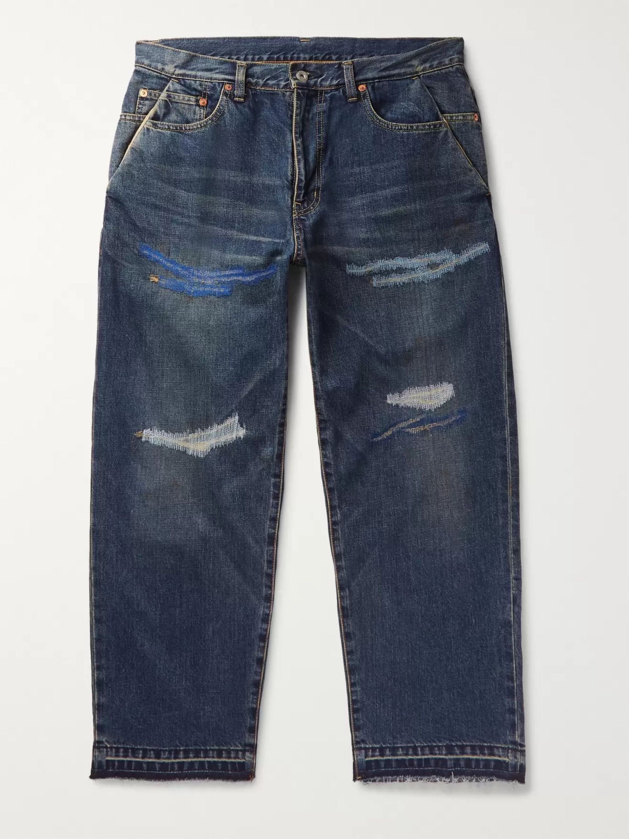 Beams Embroidered Distressed Denim Jeans