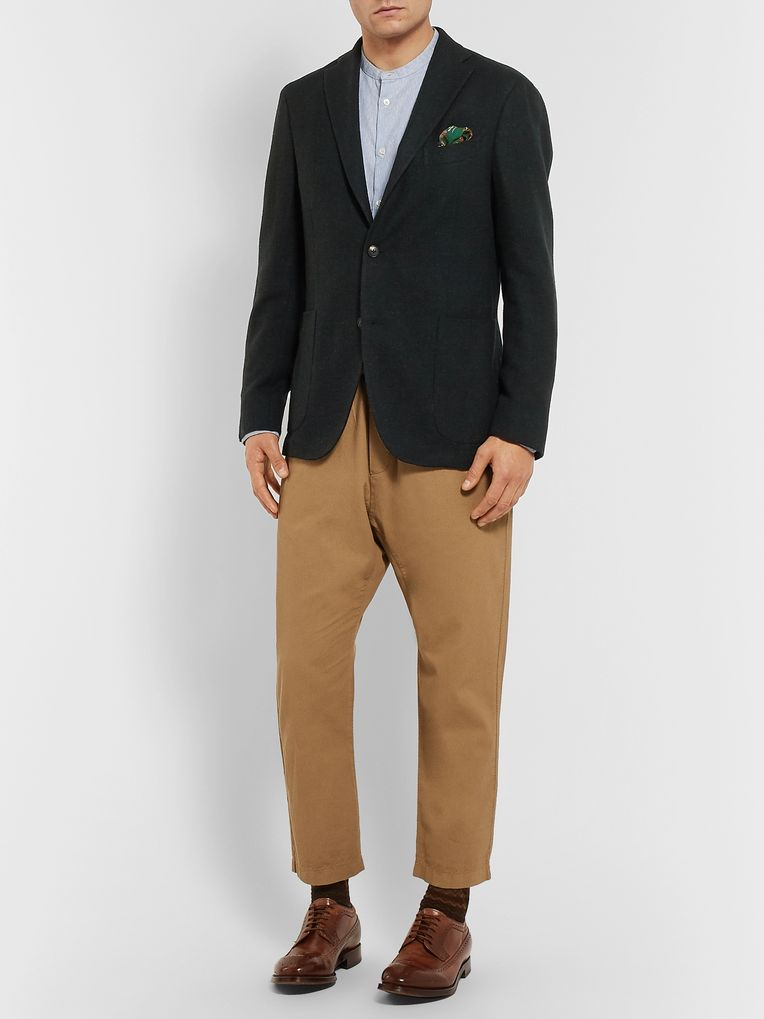 Boglioli Black Unstructured Wool, Cotton and Cashmere-Blend Hopsack Blazer