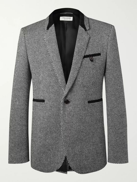 SAINT LAURENT Slim-Fit Suede-Trimmed Virgin Wool-Blend Tweed Blazer