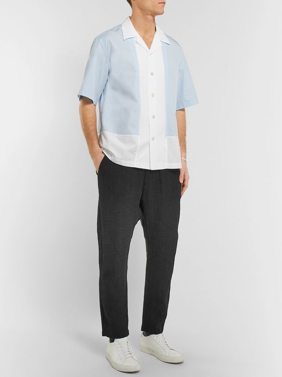Barena Charcoal Cropped Tapered Slub Linen and Cotton-Blend Trousers