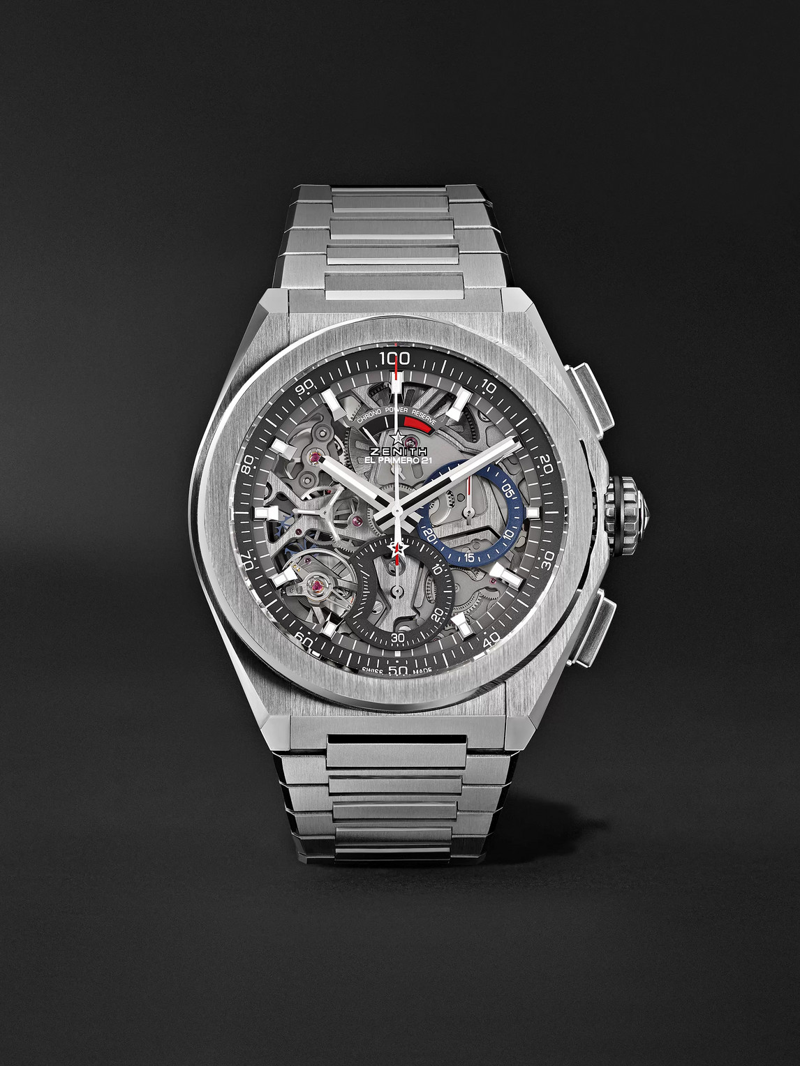 Zenith Defy El Primero 21 Chronograph 44mm Brushed-titanium Watch, Ref. No. 95.9000.9004/78.m9000 In Silver