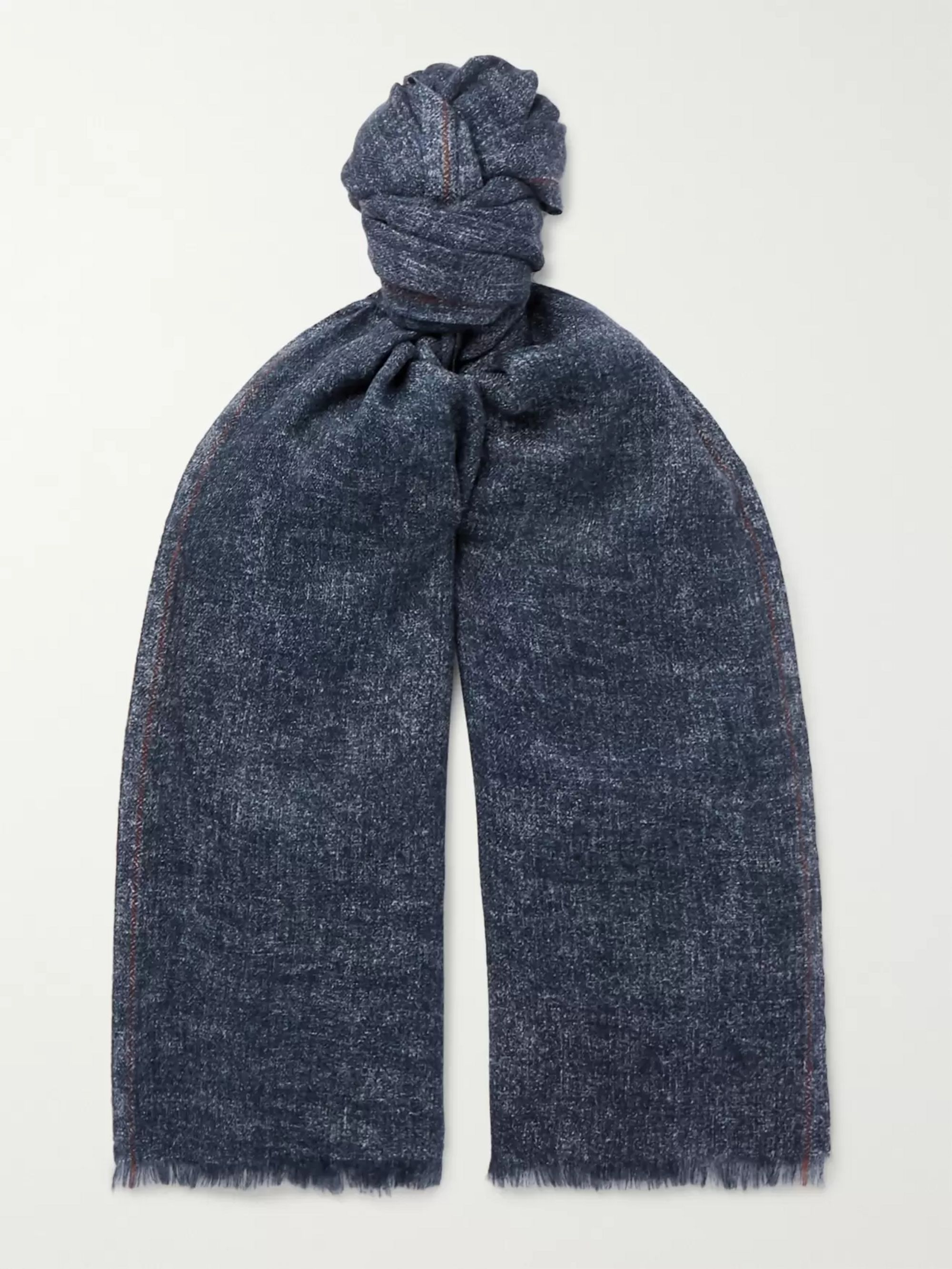 Loro Piana Fringed Mélange Cashmere and Silk-Blend Scarf