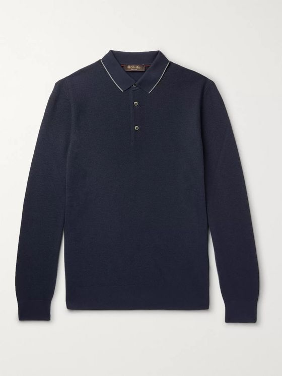 Loro Piana Contrast-Tipped Wool and Cashmere-Blend Piqué Polo Shirt