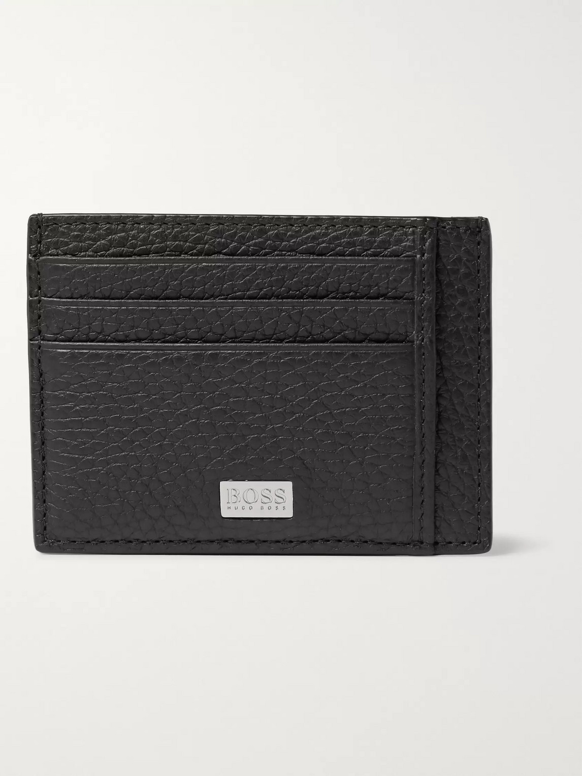 Hugo Boss Crosstown Full-grain Leather Cardholder In Black