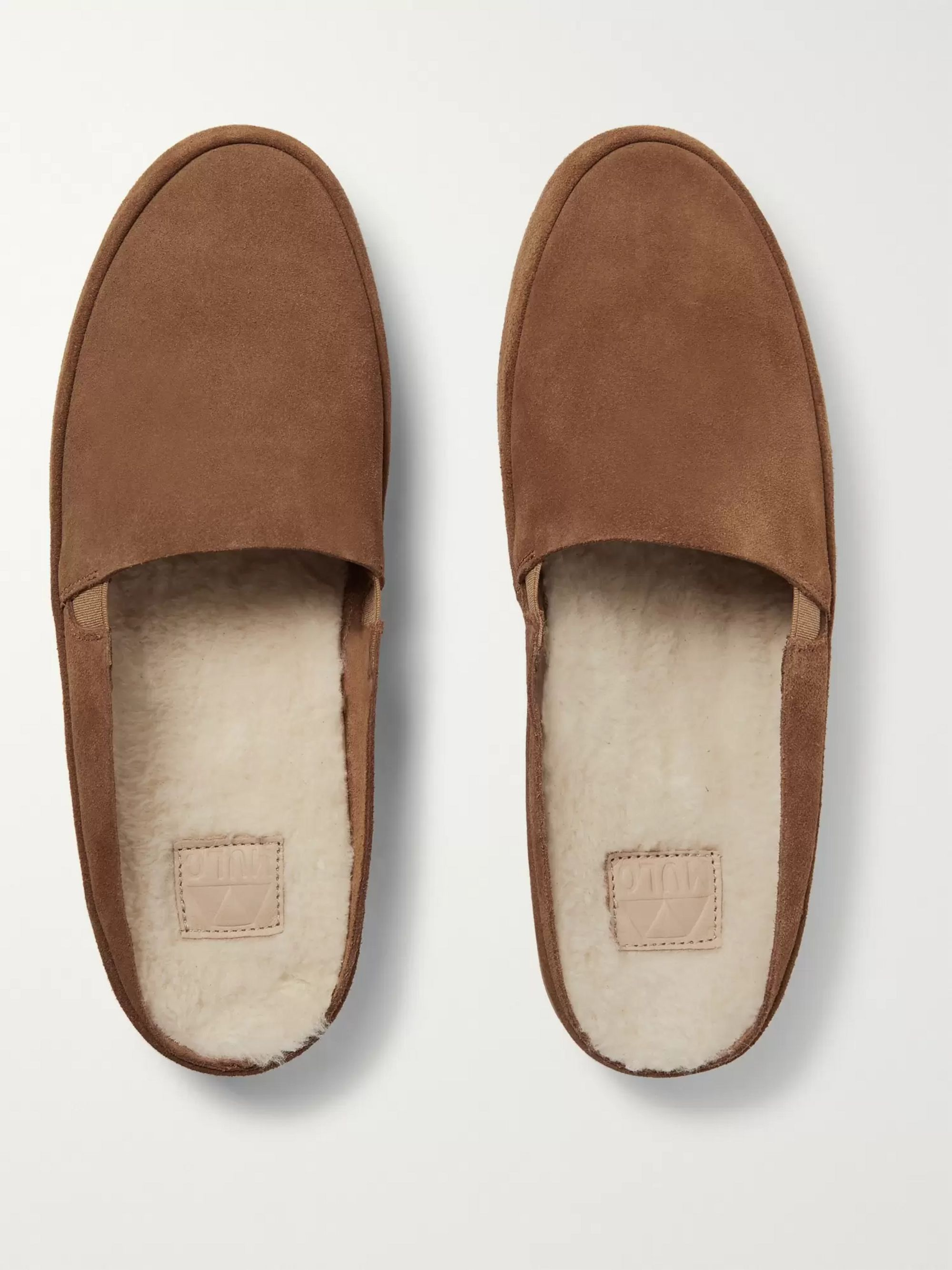 Mulo Shearling-Lined Suede Backless Slippers