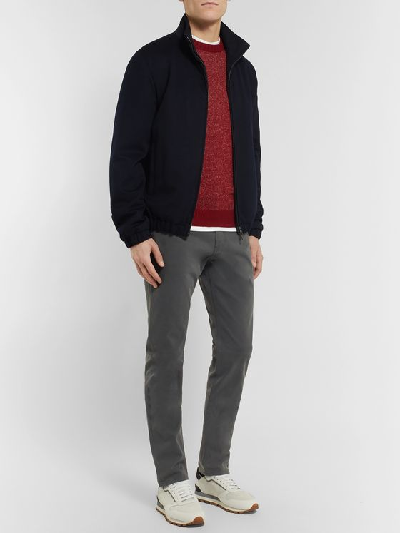 Ermenegildo Zegna Grey Slim-Fit Garment-Dyed Stretch-Cotton Twill Trousers