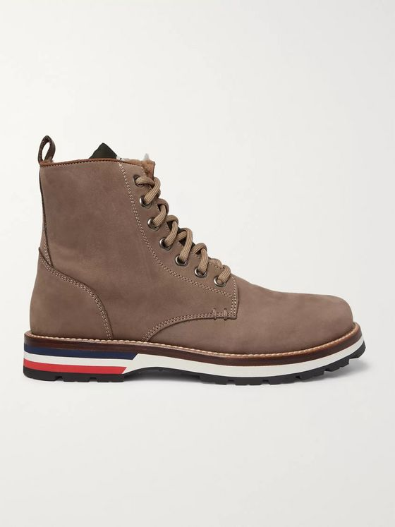 Moncler New Vancouver Shearling-Lined Suede And Shell Boots