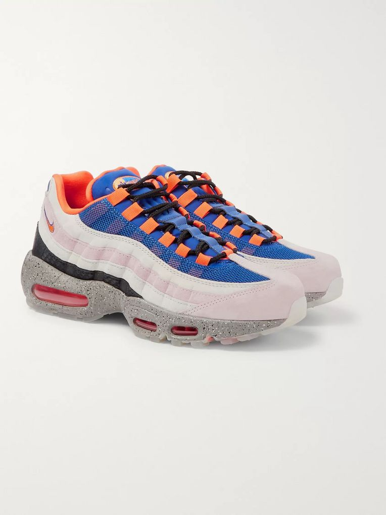 Nike Air Max 95 Panelled Faux Suede and Mesh Sneakers