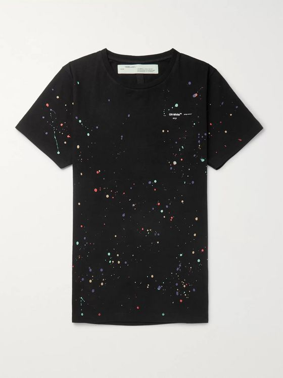 Off-White Paint-Splattered Cotton-Jersey T-Shirt