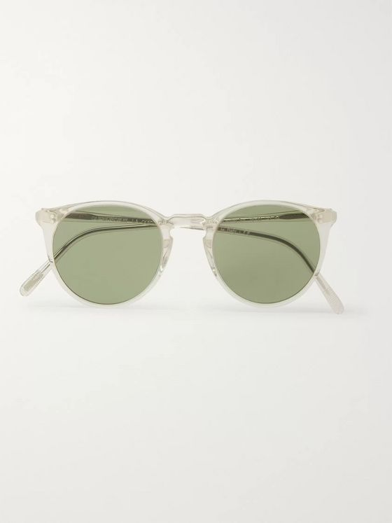 Oliver Peoples O'Malley Round-Frame Gold-Tone and Acetate Polarised Sunglasses