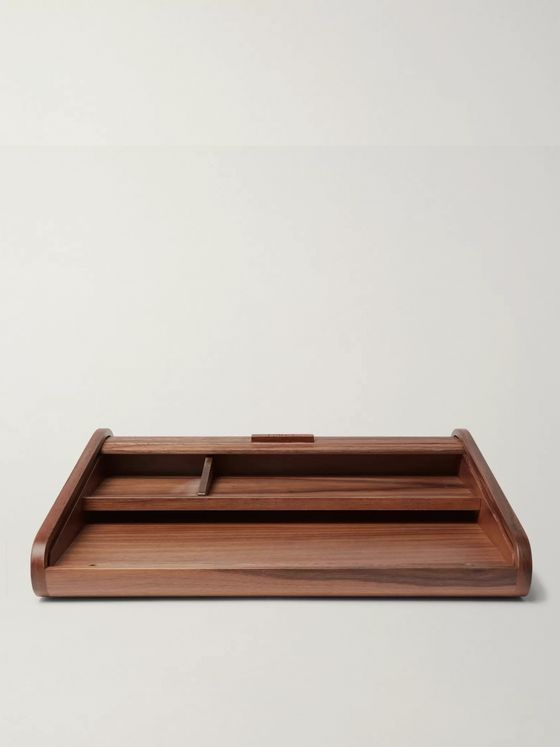 Linley Tambour Walnut Desk Tidy