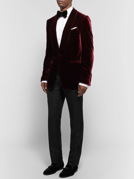 TOM FORD Shelton Satin-Trimmed Wool, Mohair and Silk-Blend Tuxedo Trousers