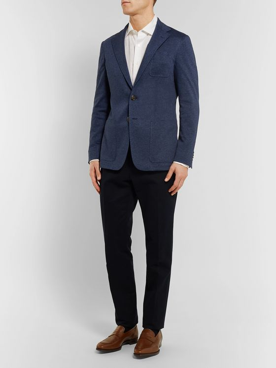 Canali Navy Unstructured Herringbone Cotton Blazer