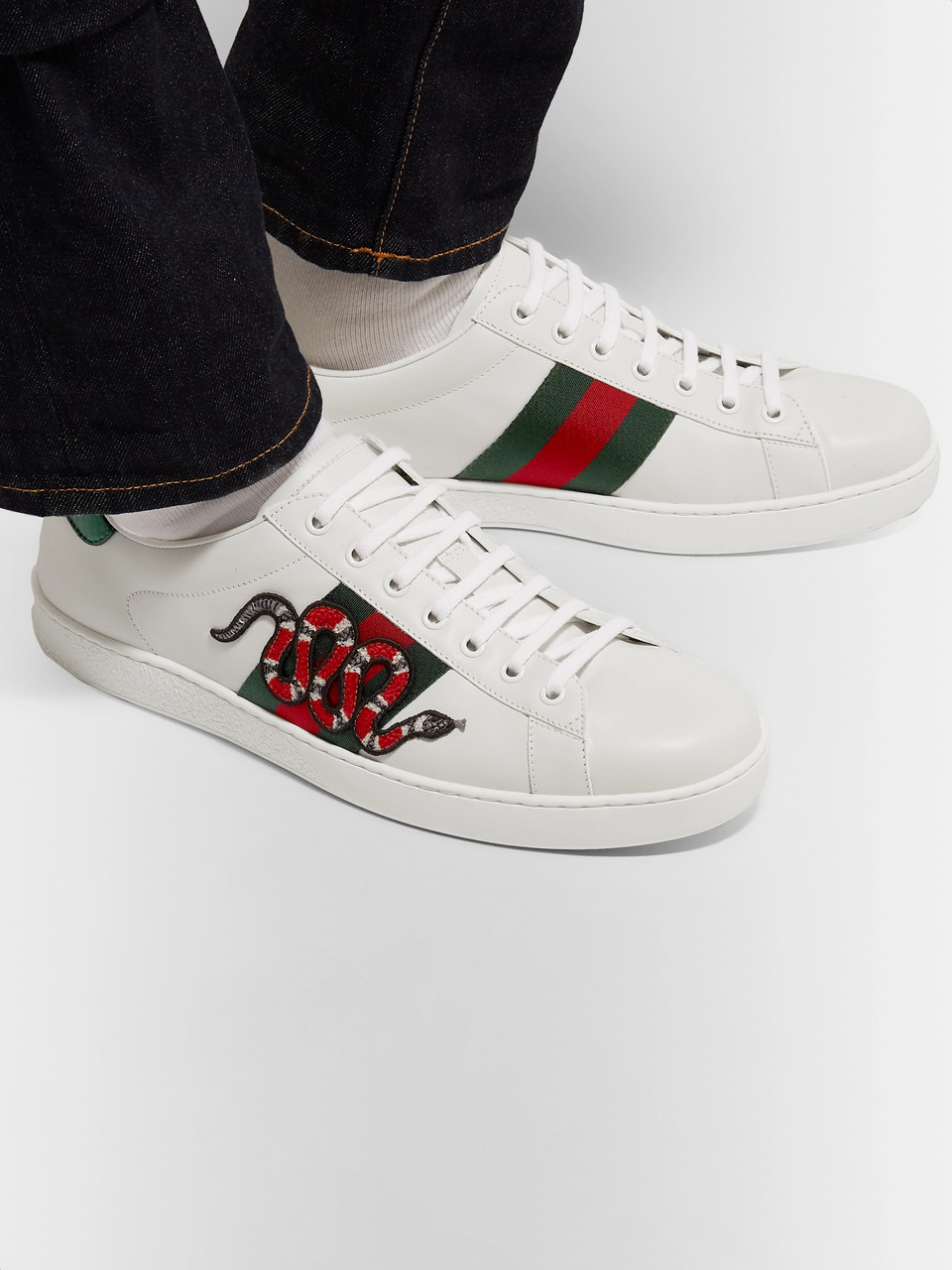 4ae0355119c White Ace Watersnake-Trimmed Appliquéd Leather Sneakers | Gucci | MR ...