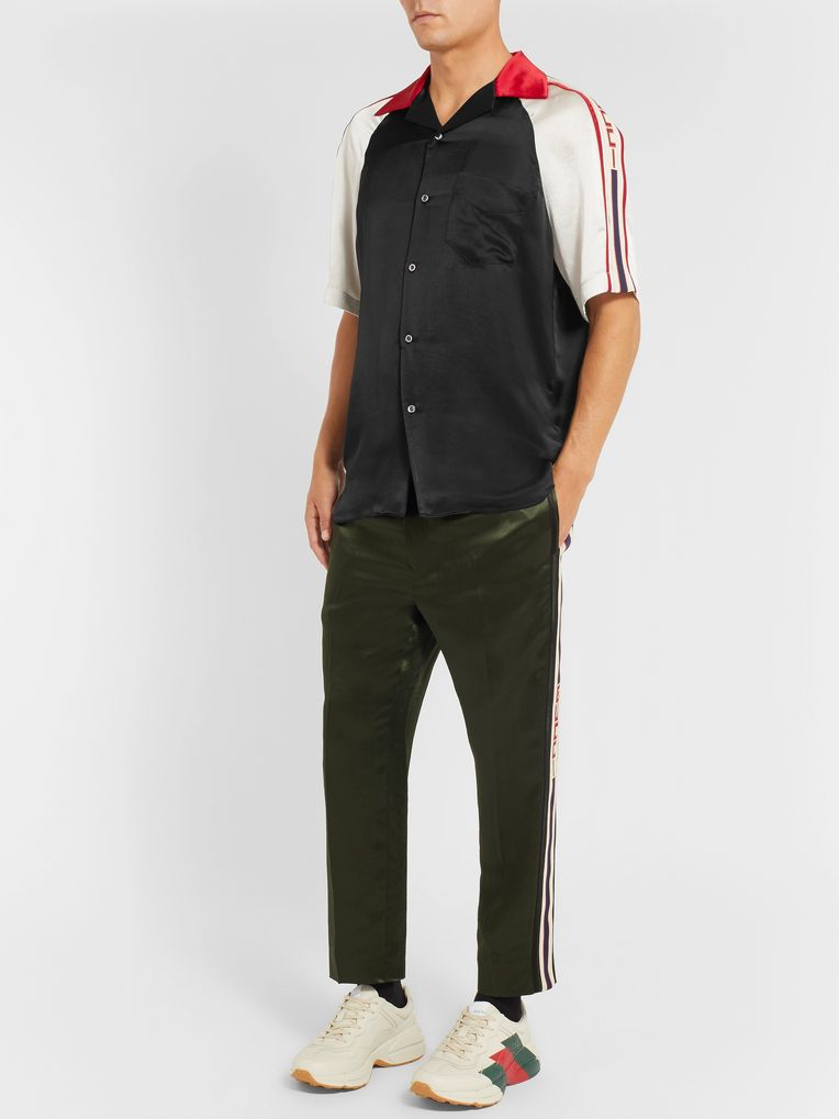 Gucci Camp-Collar Webbing-Trimmed Satin Shirt