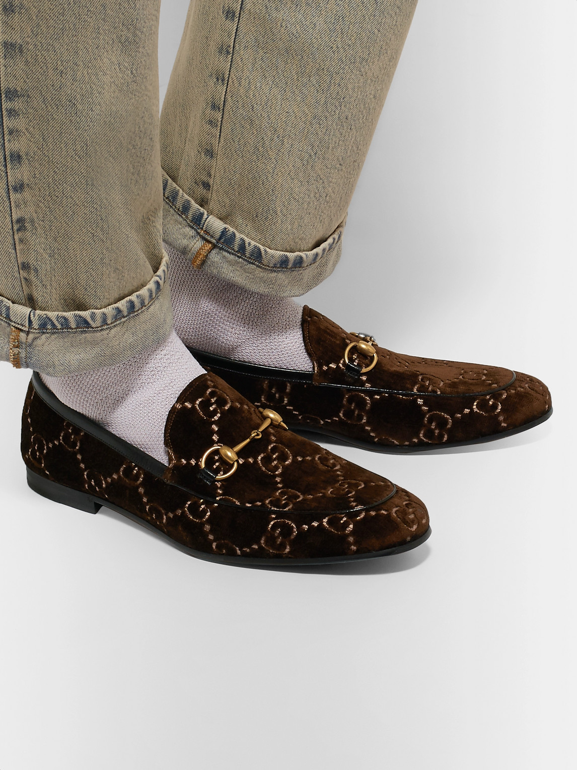 Gucci Loafers NEW JORDAAN HORSEBIT LEATHER-TRIMMED LOGO-EMBROIDERED VELVET LOAFERS