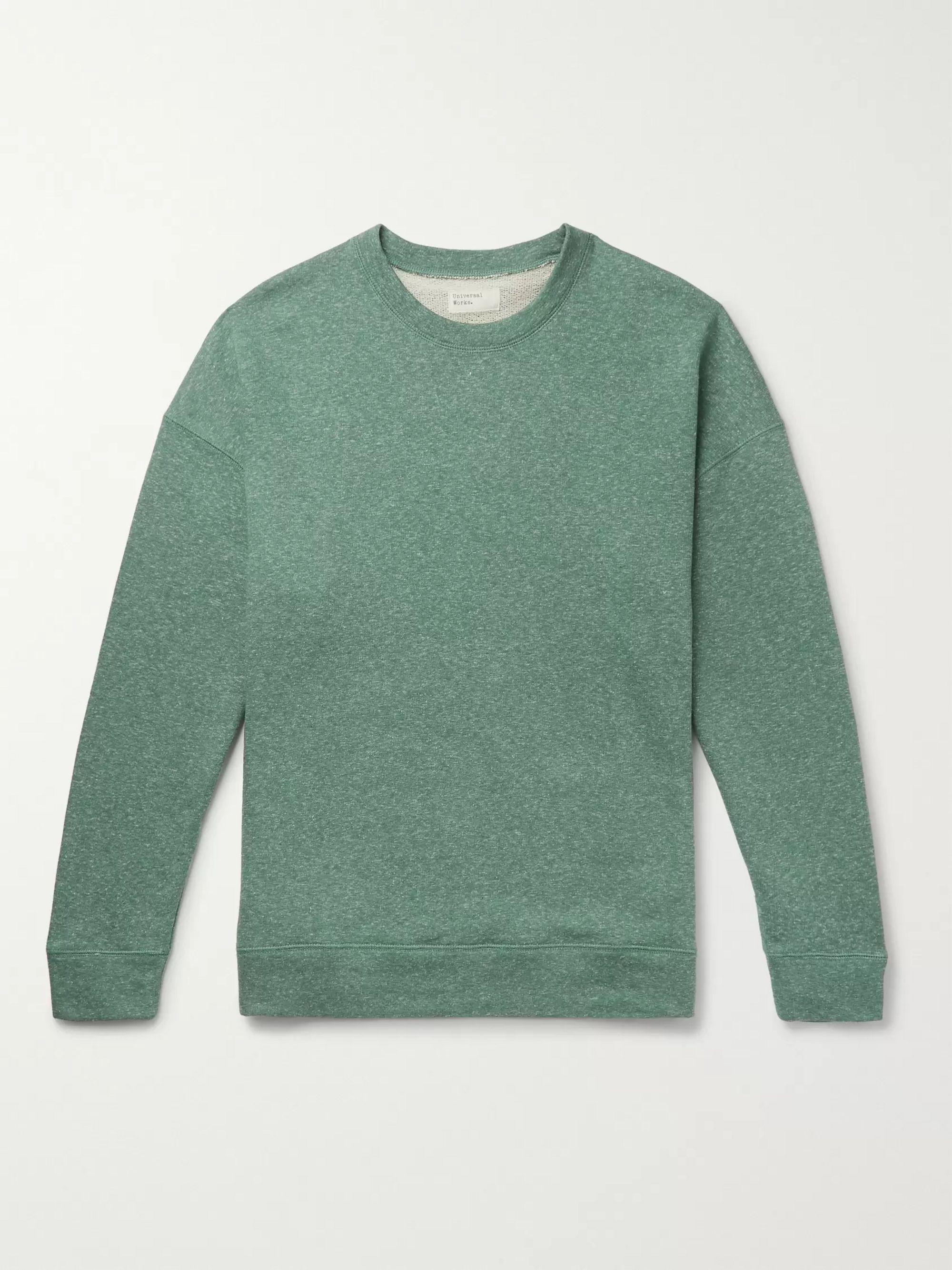 Oversized Mélange Loopback Cotton Blend Jersey Sweatshirt