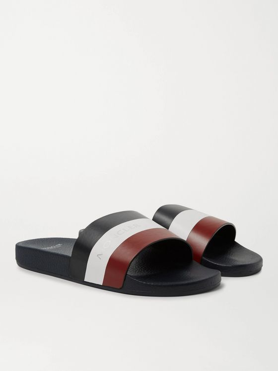 Moncler Basile Logo-Print Striped Leather Slides