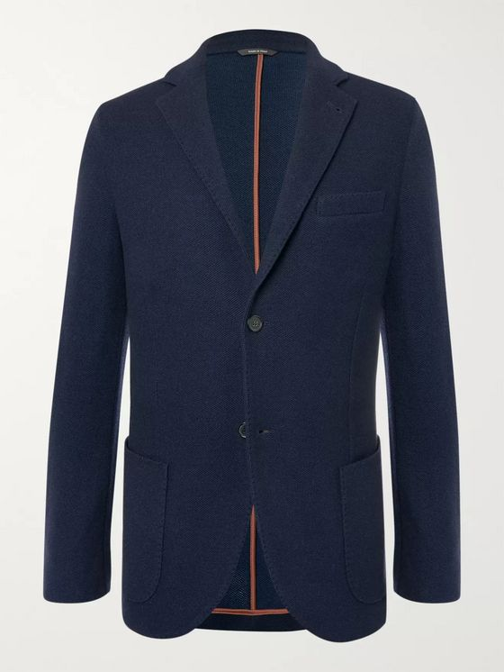 Loro Piana Navy Slim-Fit Unstructured Cashmere and Virgin Wool-Blend Blazer