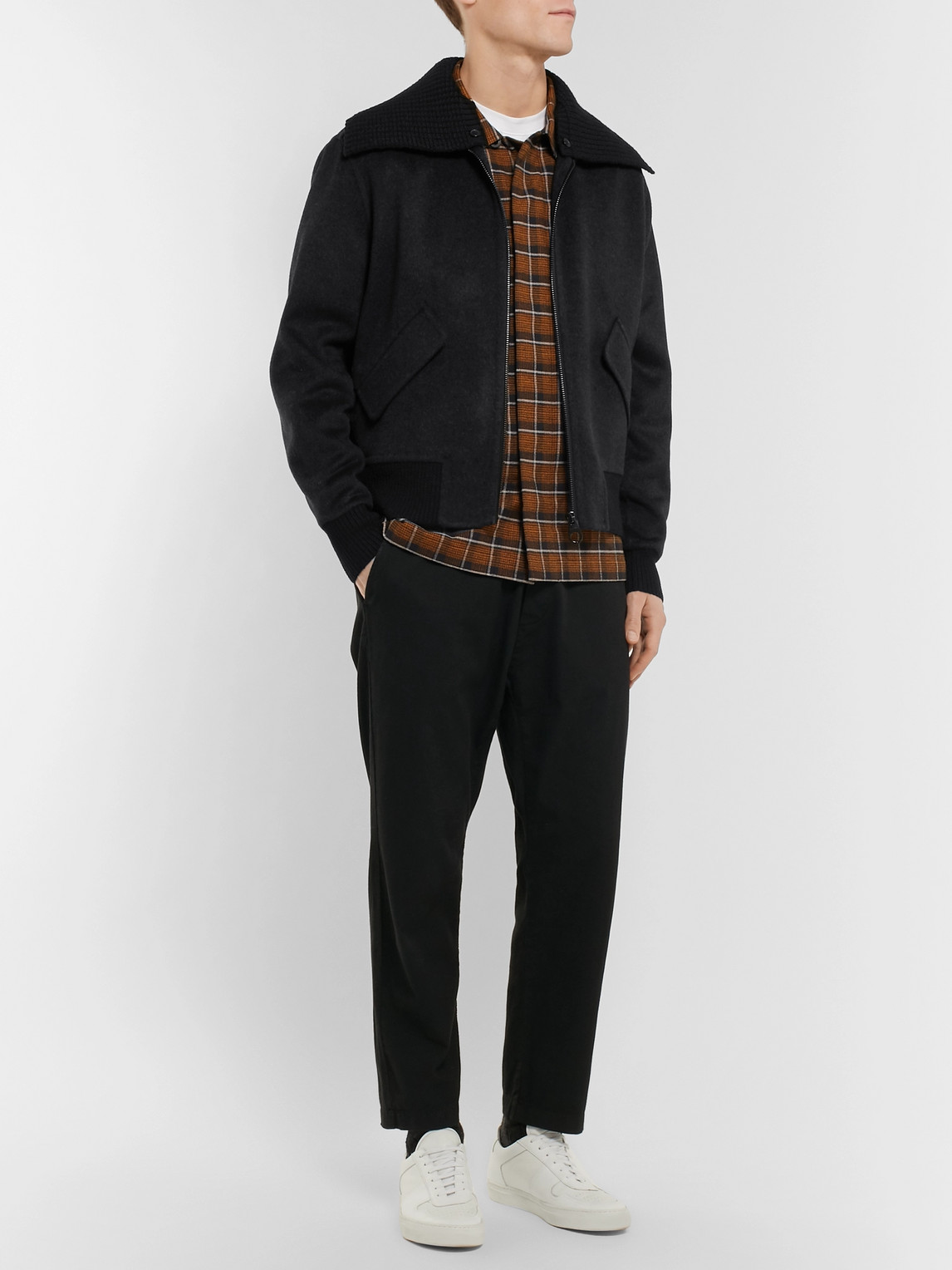 Burberry Jackets CASHMERE AND WOOL-BLEND BOMBER JACKET