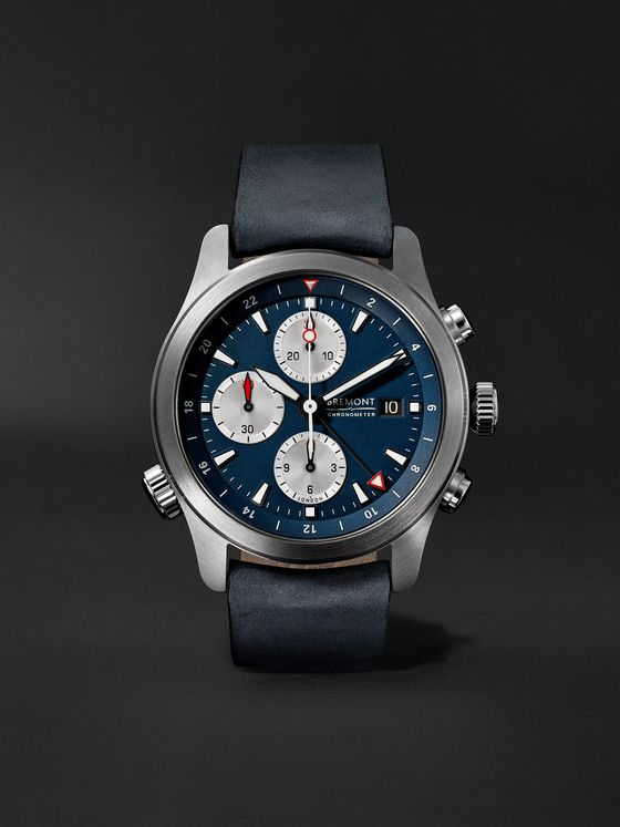 BREMONT Limited Edition Automatic GMT Chronograph 43mm Stainless Steel and Leather Watch, Ref. No. ALT1-ZT-BL-R-S