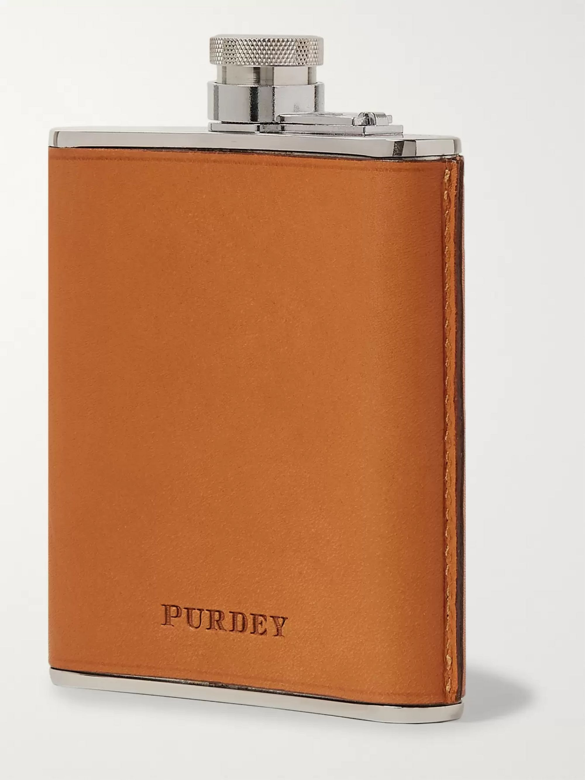 James Purdey & Sons 6oz Leather and Stainless Steel Flask