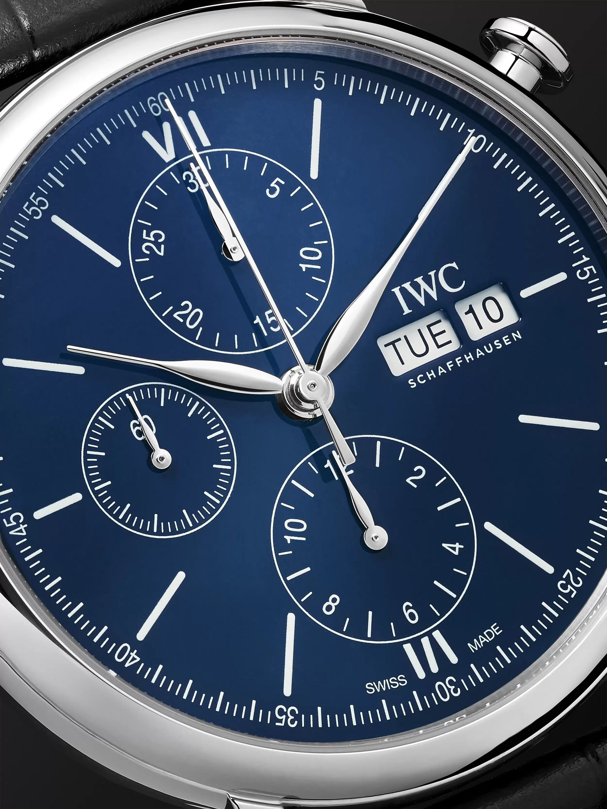 IWC SCHAFFHAUSEN Portofino 150 Years Limited Edition Chronograph 42mm Lacquered-Dial Stainless Steel and Alligator Watch, Ref. No. IW391023