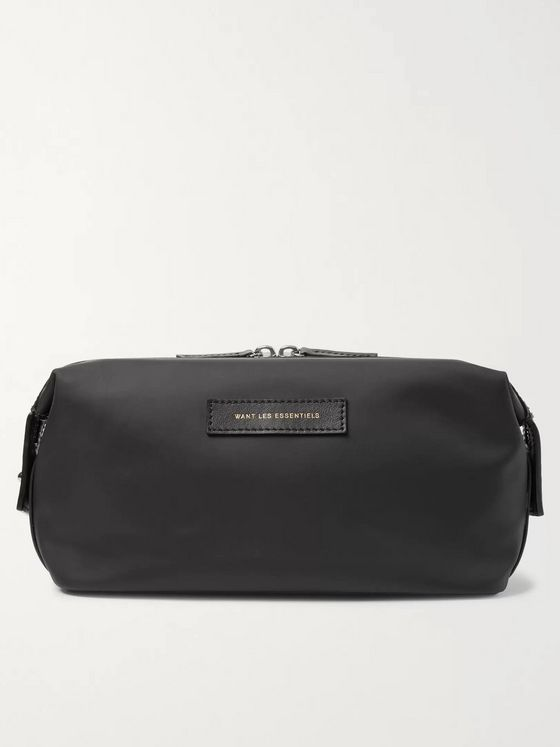 WANT LES ESSENTIELS Kenyatta Leather-Trimmed Nylon Wash Bag