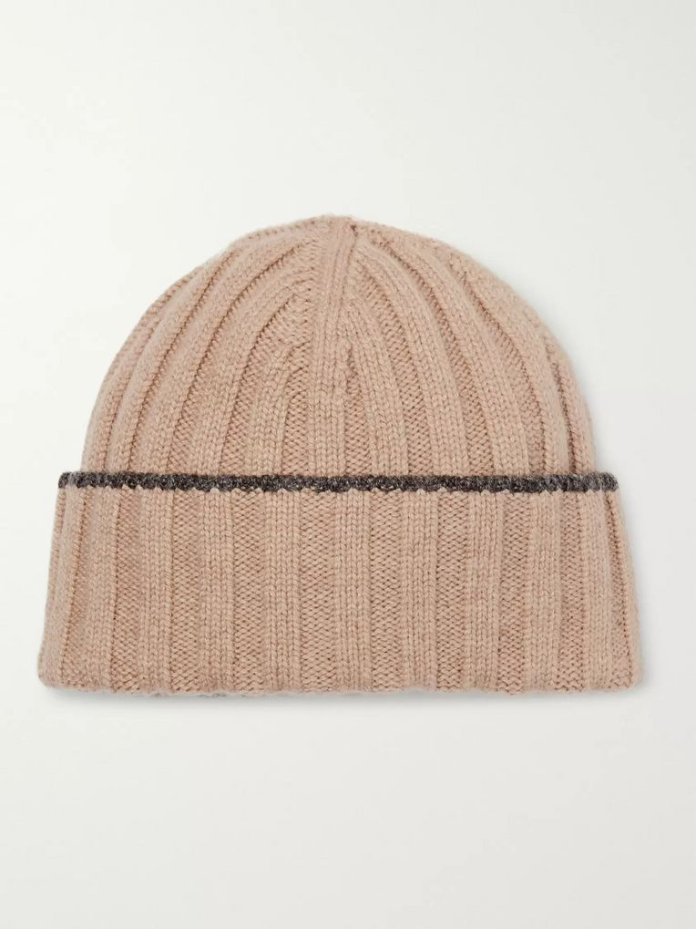 Brunello Cucinelli Contrast-Tipped Ribbed Wool Beanie