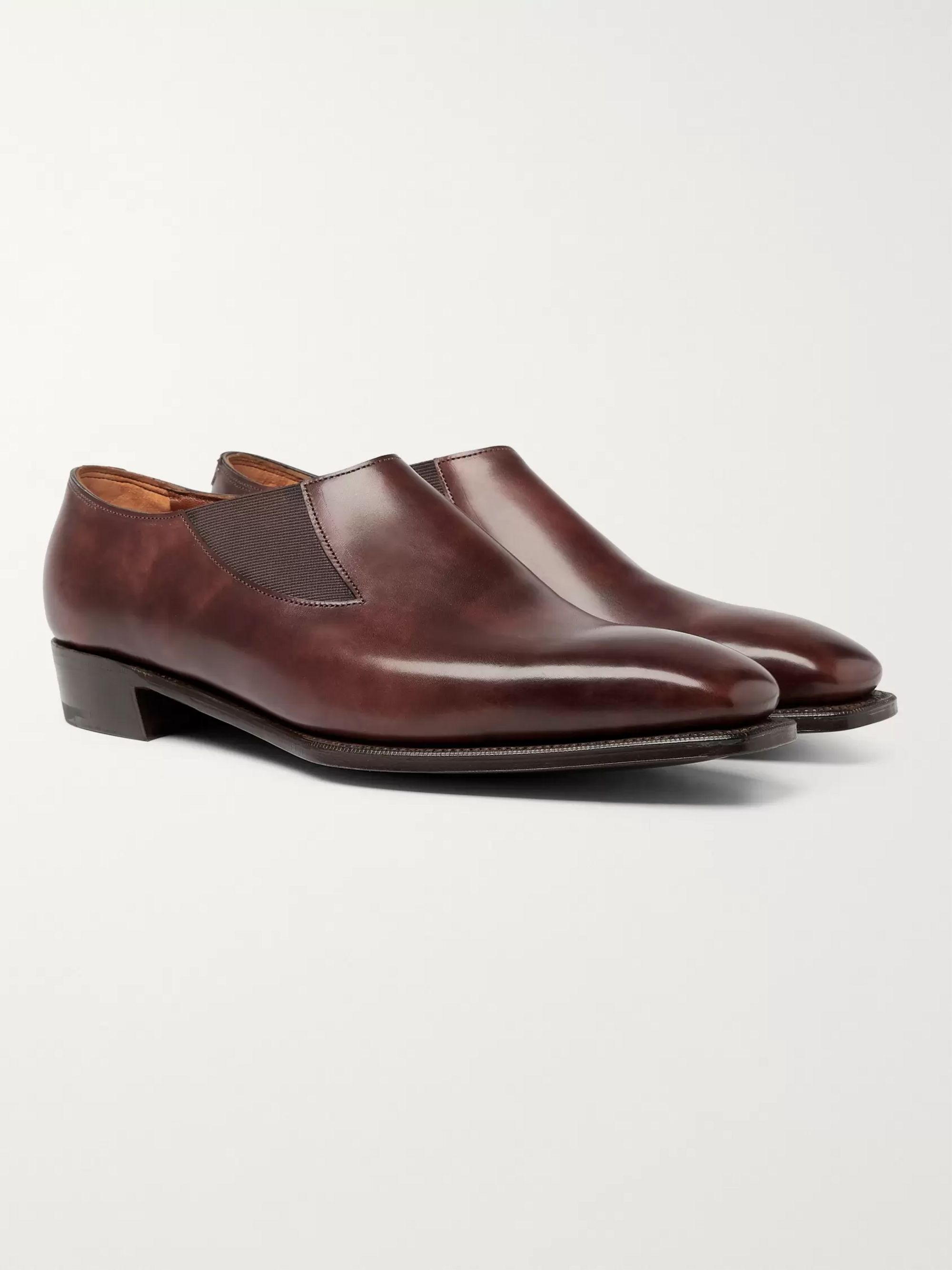 George Cleverley Bulow Burnished-Leather Loafers