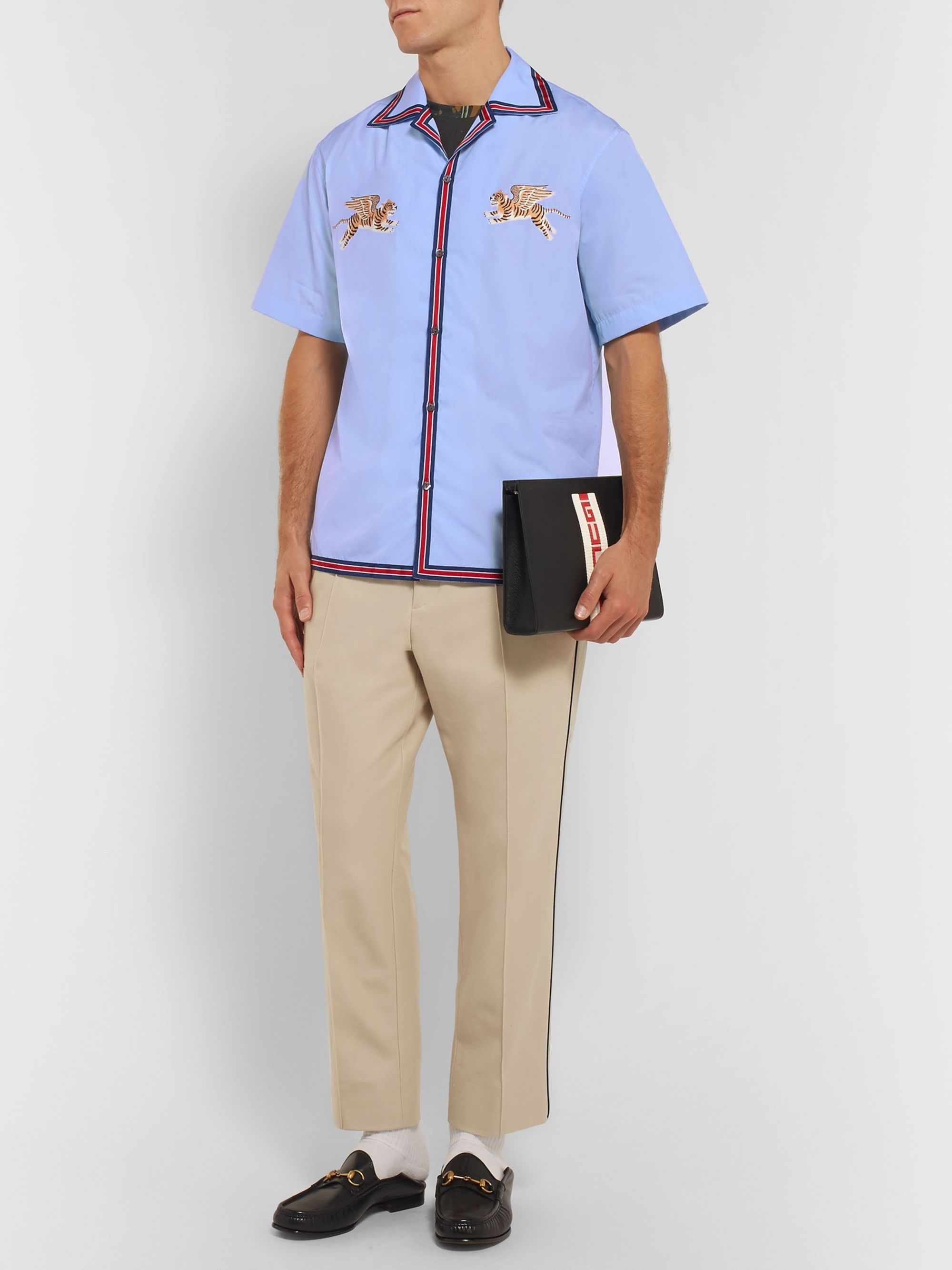 Gucci Camp-Collar Embroidered Cotton Shirt