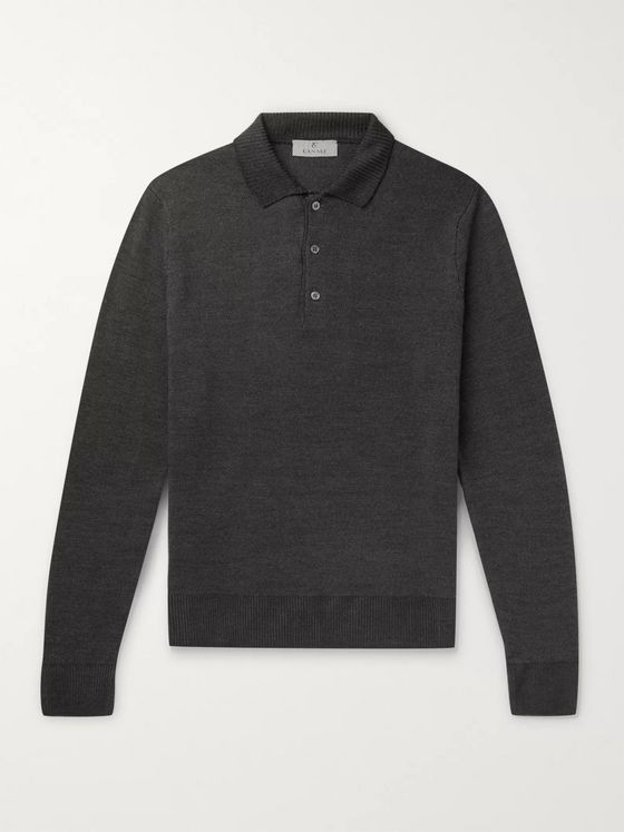 Canali Slim-Fit Wool-Piqué Polo Shirt