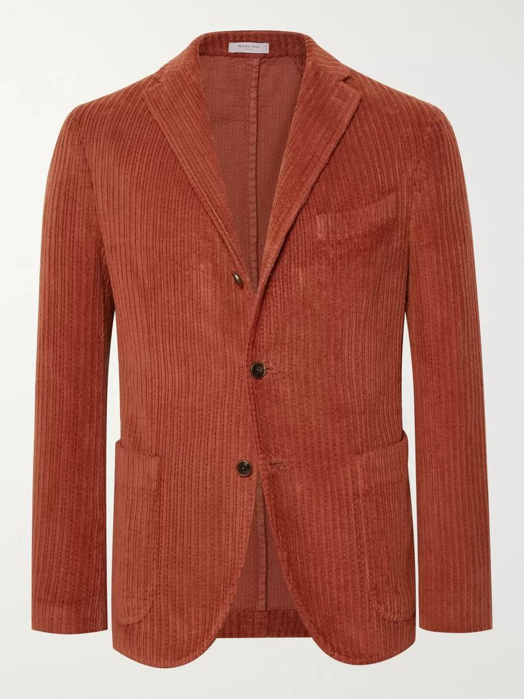 Boglioli Orange Slim-Fit K-Jacket Cotton-Corduroy Blazer