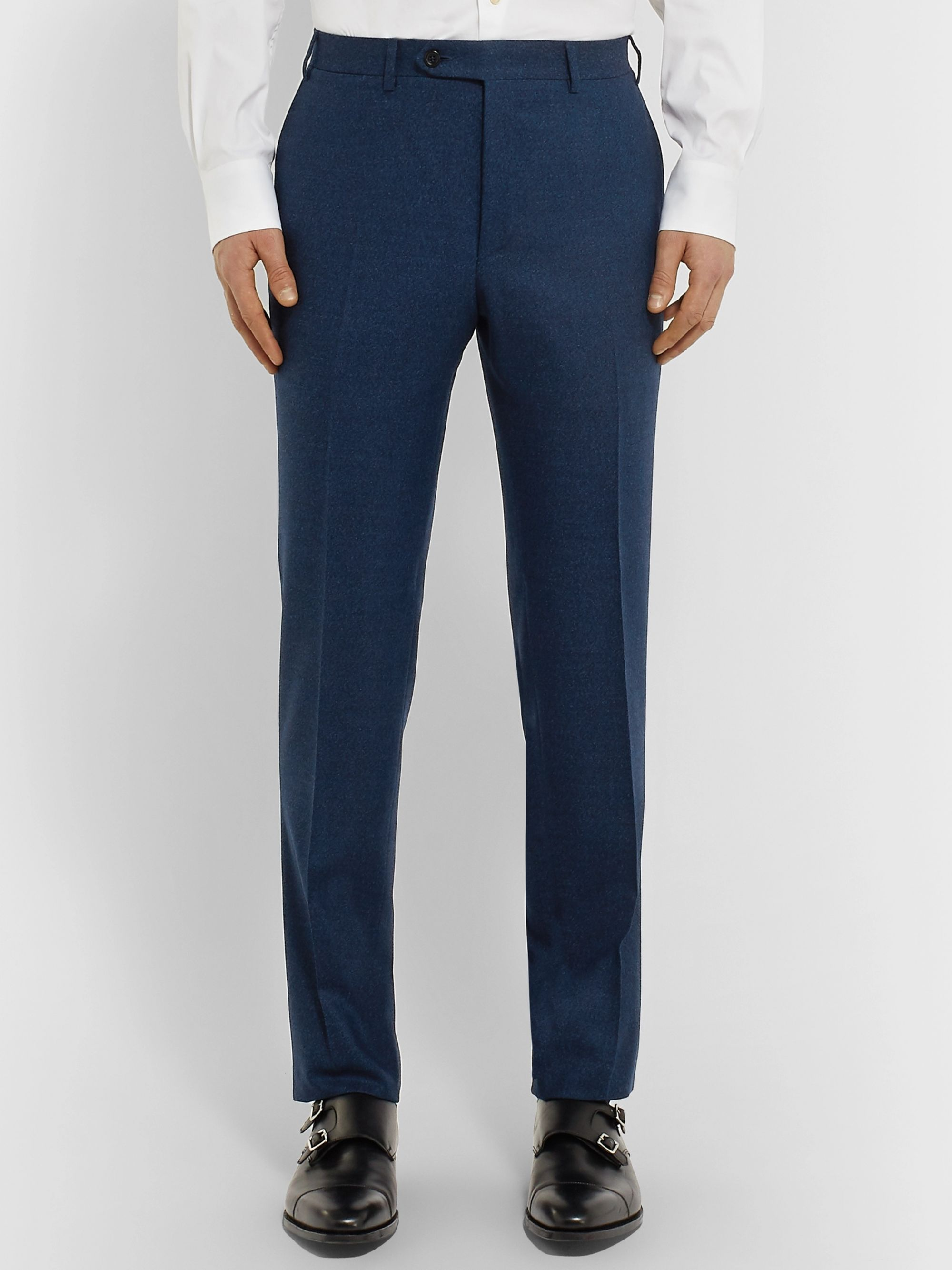 Canali Navy Kei Slim-Fit Mélange Wool-Flannel Suit Trousers