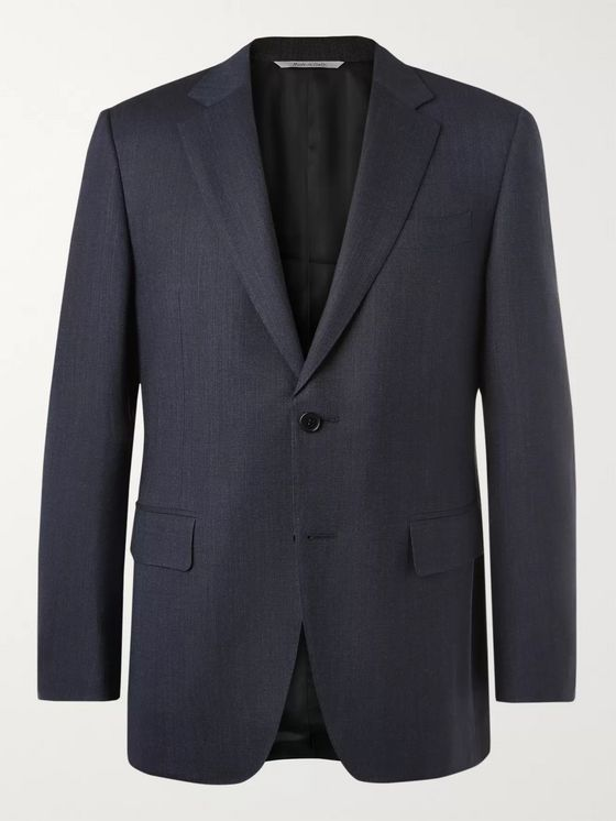 Canali Grey Nailhead Wool Suit Jacket