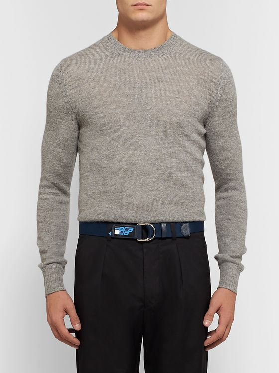 Prada 3cm Navy Saffiano Leather-Trimmed Canvas Belt