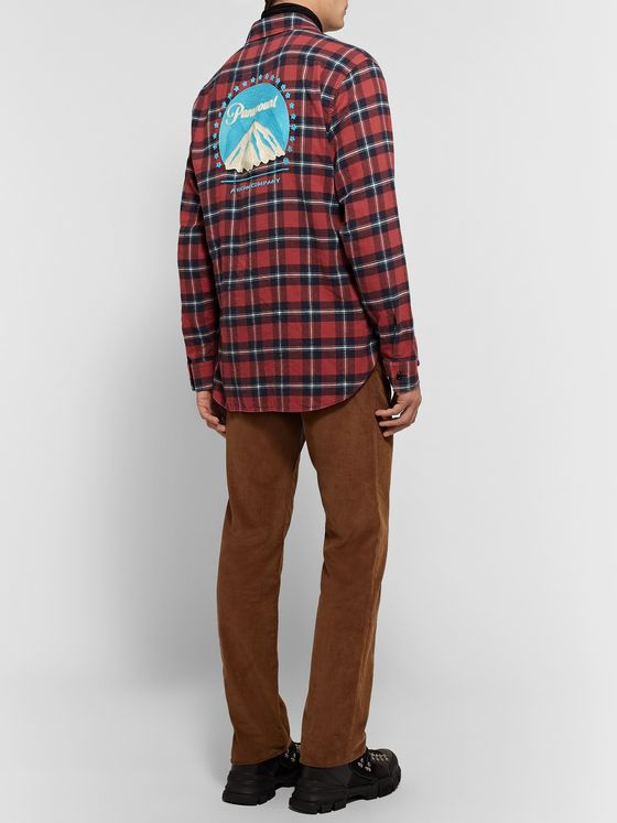Gucci Oversized Embroidered Checked Cotton-Flannel Shirt