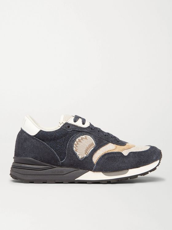 VISVIM Roland Leather-Trimmed Suede and Canvas Sneakers