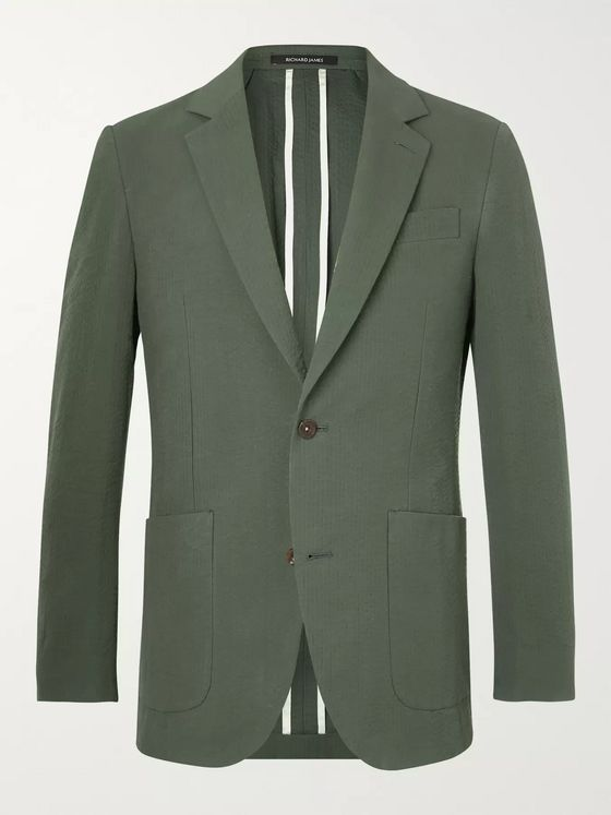 Richard James Forest-Green Unstructured Cotton-Seersucker Blazer