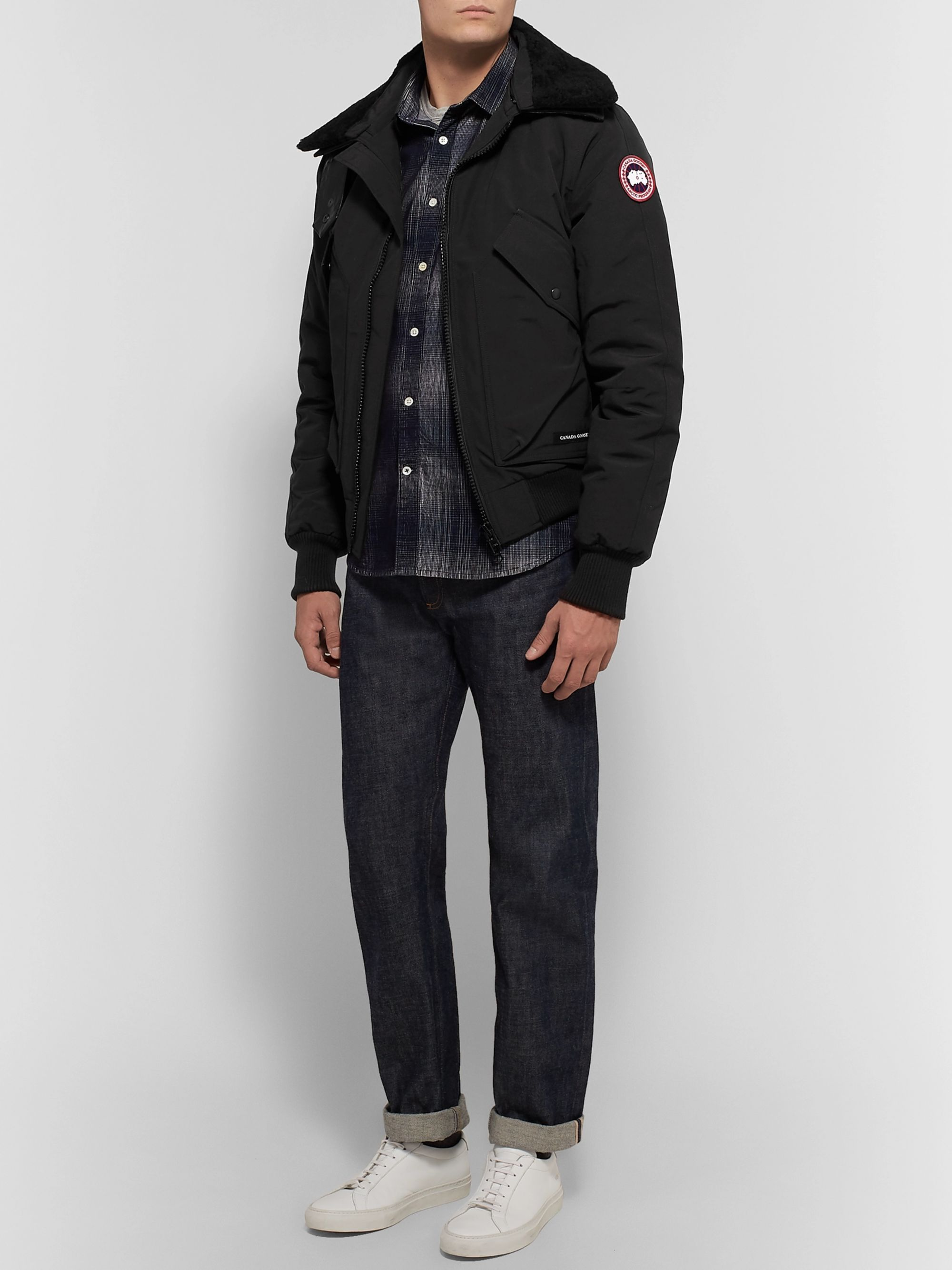 Canada Goose Bromley Shearling-Trimmed Canvas Down Bomber Jacket