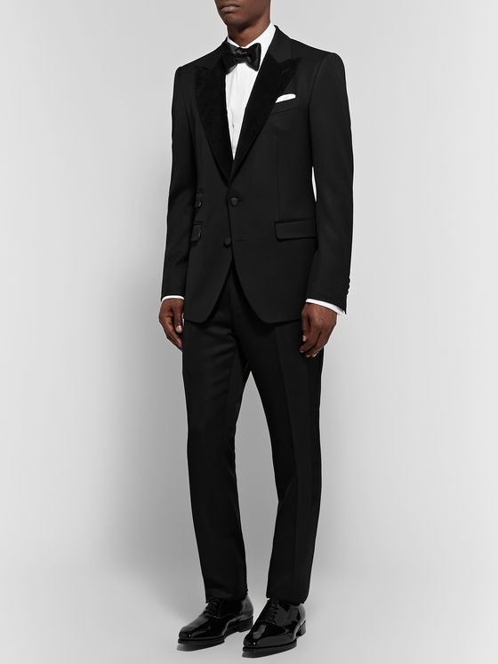 Dolce & Gabbana Black Slim-Fit Velvet-Trimmed Wool and Cotton-Blend Twill Tuxedo Jacket