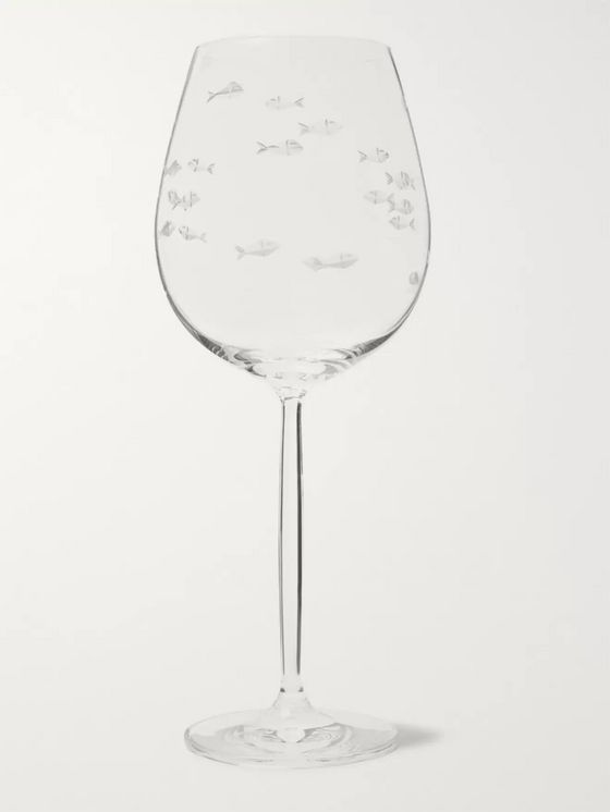 Linley Fish-Etched Crystal Red Wine Glass
