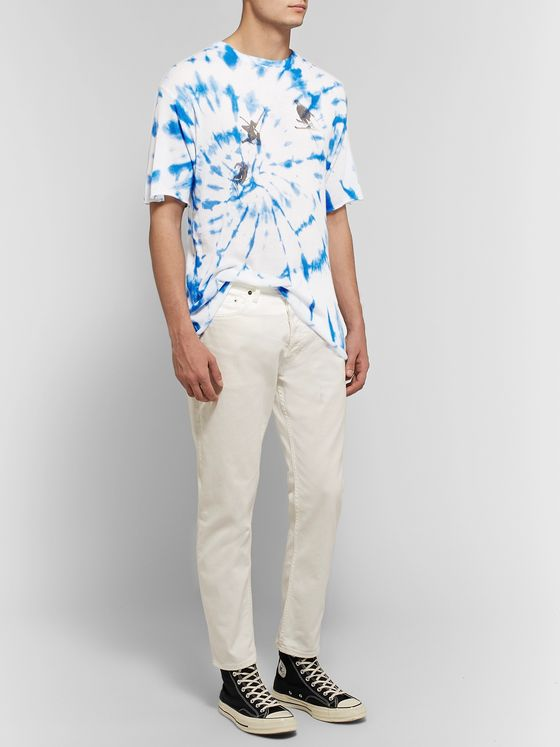 The Elder Statesman Printed Tie-Dyed Cashmere and Silk-Blend T-Shirt