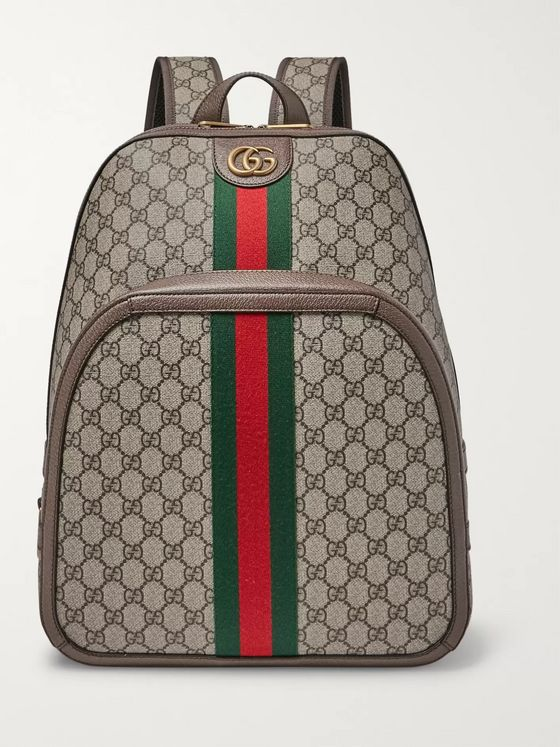 Gucci Leather and Webbing-Trimmed Monogrammed Coated-Canvas Backpack
