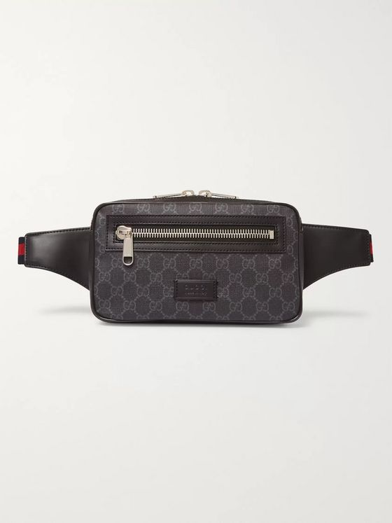 Gucci Leather-Trimmed Monogrammed Coated-Canvas Belt Bag