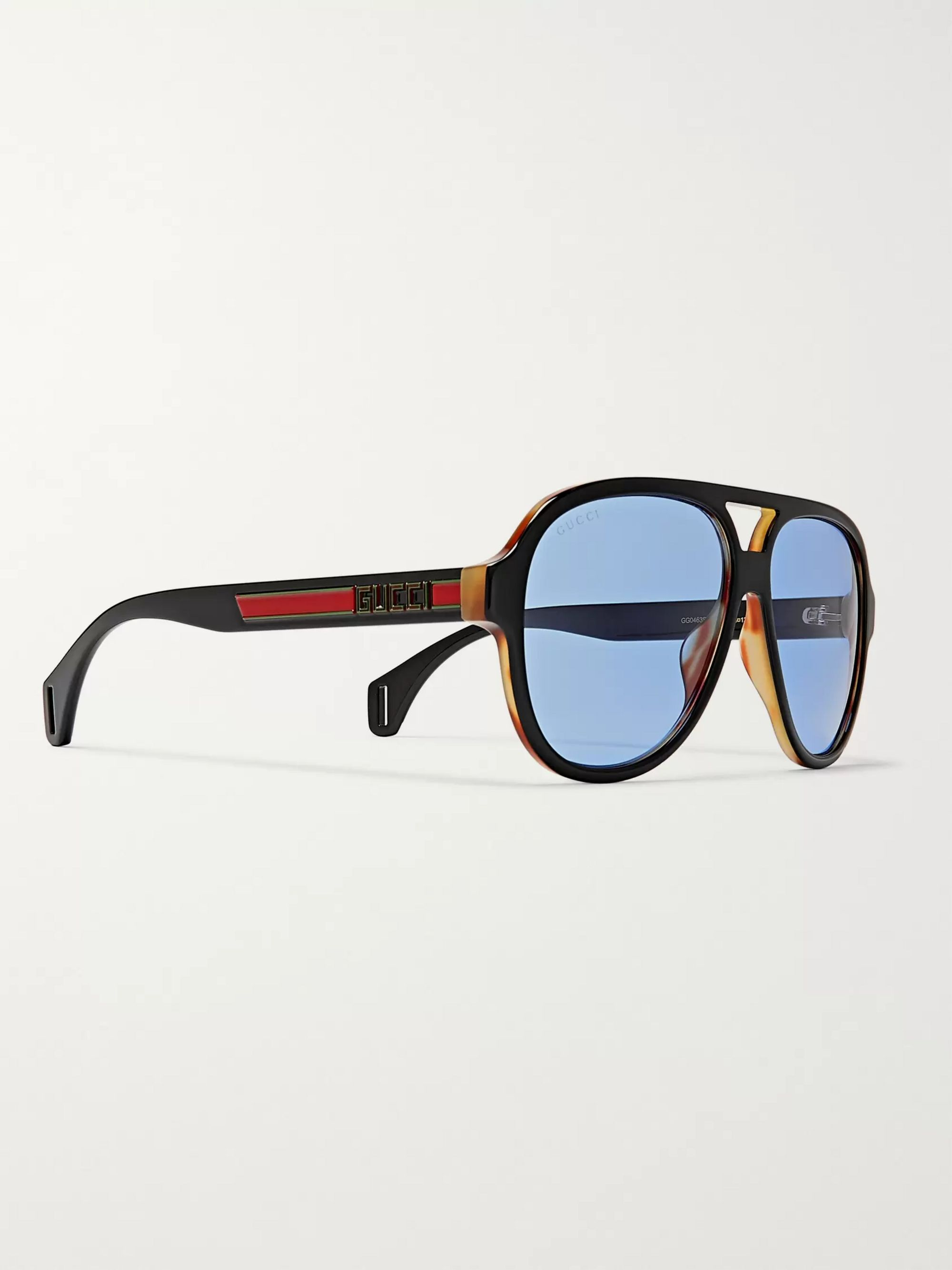 Gucci Striped Aviator-Style Acetate Sunglasses
