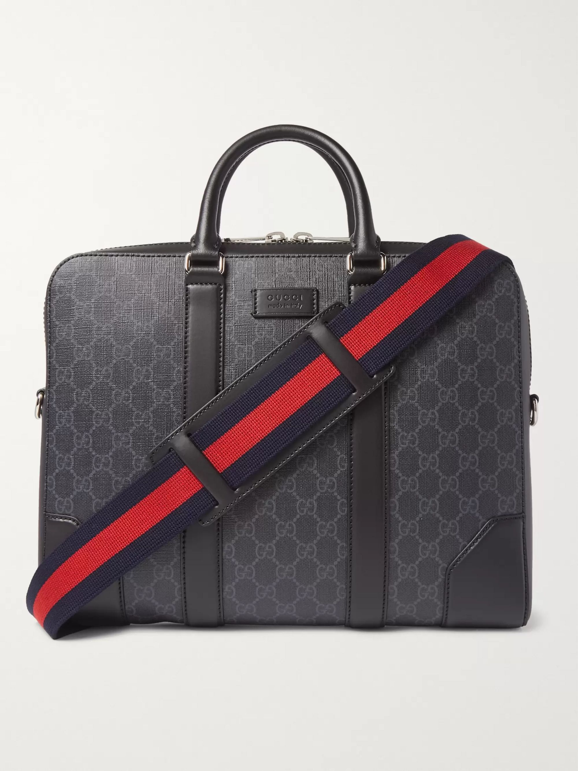 Leather Trimmed Monogrammed Coated Canvas Briefcase by Mr Porter